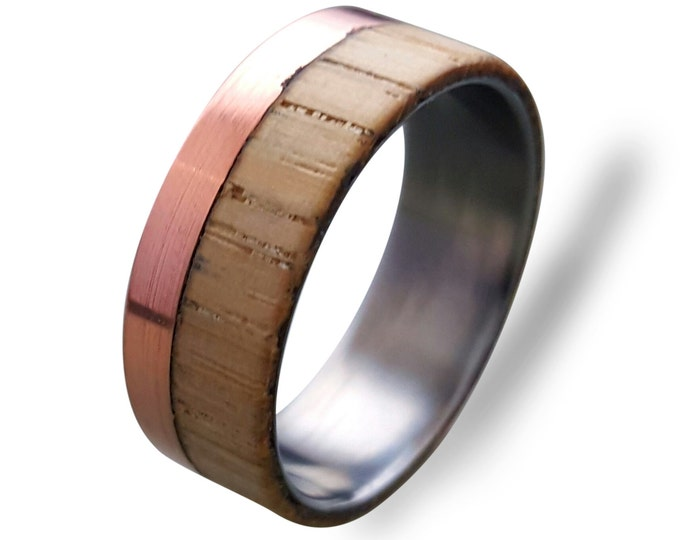 Titanium ring with Copper and Beech wood, Mens Titanium Wedding band