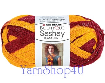 BURGUNDY/ GOLD Team Spirit Red Heart yarn Sashay Team colors scarf yarn fluffy red and yellow, burgundy and gold Indian football team