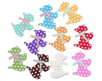 "Wooden Assorted Spotty Scottie Dog Design Sewing Buttons.28.0mm(1 1/8"") x 21.0mm( 7/8""). Ideal for Sewing, Scrapbook and Crafts"