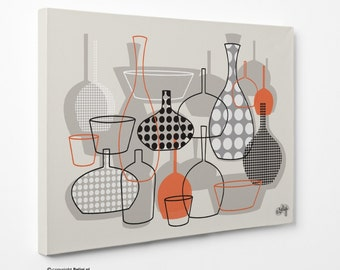 Bottles & Vases | Wall Art Canvas Print - Orange