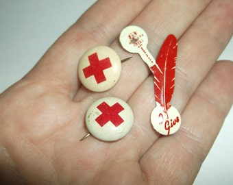 Vintage 1920s Red Cross Pins Pinbacks and Give Blood Red Feather Pin, Red Cross Celluloid Pins, Geraghty & Company