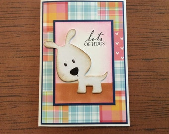 Handmade Greeting Card: Lots of hugs. Cute dog on front. Great Friendship card