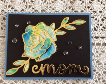 Handmade Greeting Card:  Mother's Day card done in black and gold.