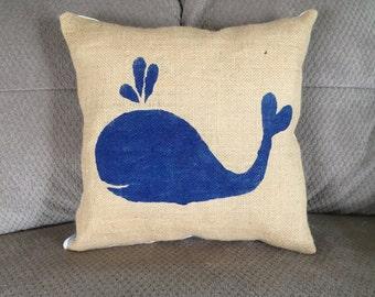 Shabby chic burlap pillow, whale pillow, decorative rustic pillow, painted burlap