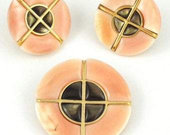 "1960s "" BUTLER "" Vintage Peach Color Enameled Brooch & Earrings Set"