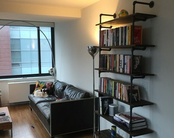 Wood and Steel Pipe Shelf or Bookshelf