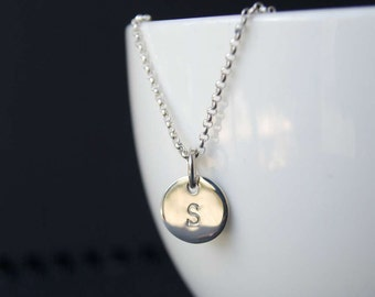 Initial Pendant, Sterling Silver Petite Disc Initial Pendant, Handstamped Initial Circle Petite Disc Pendant on Rolo/ Belcher link chain
