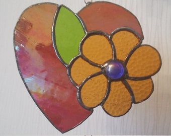 Hearts and Flowers © - stained glass suncatcher