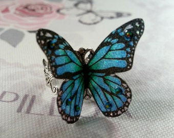Beautiful Blue & Black 3D Butterfly Ring