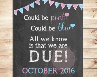 Pregnancy announcement, sign, Could be pink, could be blue, All we know is that we are due, poster, announcement, due date
