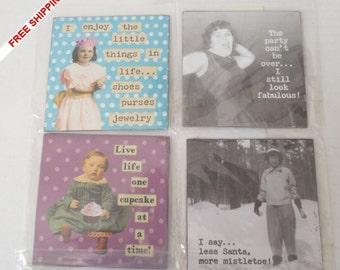 Set of 4 Nostalgic Refrigerator Magnets ~ KITSCHY~SASSY