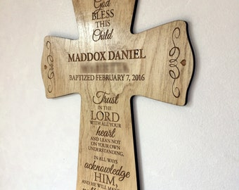 Personalized Wooden Baptismal Cross! Stained.