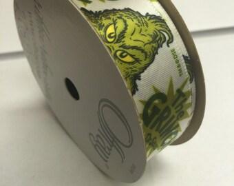 """7/8"""" Dr Seuss White Decorative Ribbon - 9 feet - The Grinch Ribbon"""