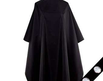 Clear Midnight All Purpose Waterproof Black Chemical Capes Over sized 55 X 58 Inches Bleach Proof Snap Closures