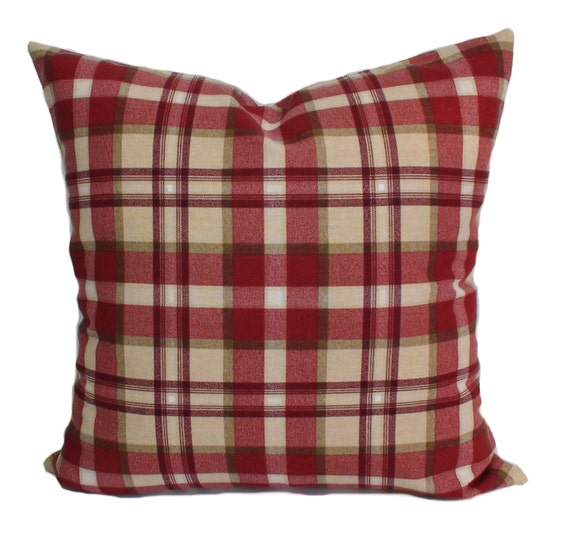 Red Plaid Throw Pillow Cover : Plaid pillow cover 16x16 Red throw pillow Toss pillows