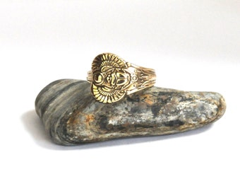 egyptian  ring, antique ring, spoon ring, scarab  ring, beetle ring,  1909 ring, gold plate ring