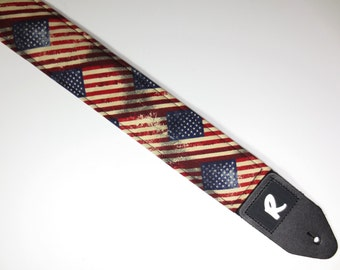 Guitar Strap - American Flag - Rustic Stars and Stripes - Go USA!