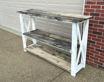 Entertainment Center TV Stand distressed white with barnwood