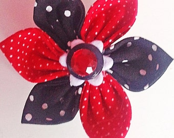 Red & Black Polka Dot Collar Flower for Girl Dog