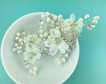 Ivory wedding hair flower clip, wedding hair accessories, wedding flower clip, hair flower comb, ivory hair flower clip 468924721