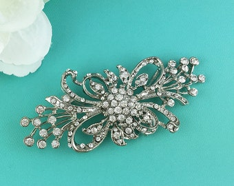 Vintage ribbon wedding brooch, wedding pin, bridal brooch, wedding dress brooch, bridal wedding accessories, vintage brooch pin 204603774