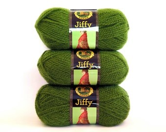 Green Jiffy Yarn Avocado 3 Skeins Lion Brand Mohair Look Craft Supplies