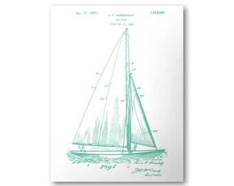 Sailboat Patent Poster - 1927 U.S. Patent Print #1,613,890