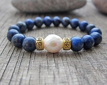 Mens Bracelet Unisex Bracelet Lapis Lazuli Bracelet Earthy Bracelet Baroque peal Bracelet Gift ideas for men gifts for guys gifts for girls