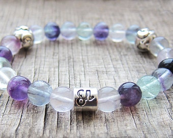 Capricorn zodiac sign bracelet Horoscope bracelet Zodiac jewelry Capricorn birthstone bracelet Fluorite bracelet Astrology jewellery