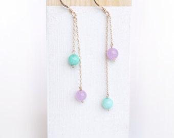 Macaroon Drop Earrings, Semi-precious Stone Jewelry, *Gift for her*