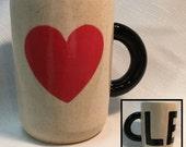 CLE / LOVE - BIG 14 ounce Ceramic Coffee Cup / Cleveland Mug Heart art, 100% Hand Made