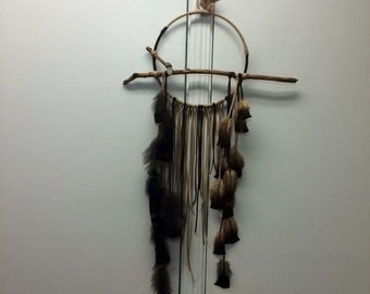 Branch Dreamcatcher, Loon- large brown leather dream catcher