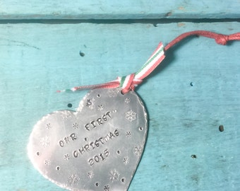 Our First Christmas 2015 Heart Hand Stamped Ornament