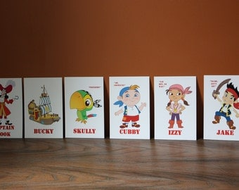 Jake and the Neverland Pirates Table Character Cards **Jake, Izzy, Cubby, Skully, Bucky, Captain Hook,Mr Smee, Tick-Tock, Sharky & Bones **