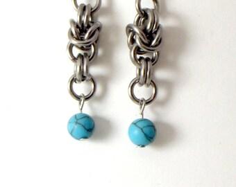 Turquoise Byzantine Earrings