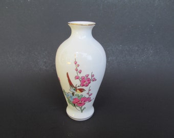 Miniature Ceramic  Vase- gold rimmed - fine china  - Bird sitting on Branch  4''  tall  -  used
