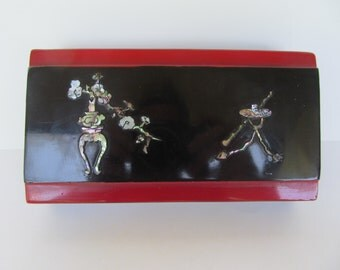 Vintage Vietnam War Era  Wood black and red Laquer Jewelry Box
