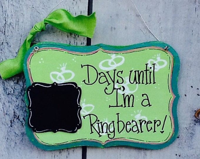 Ring boy countdown sign, ring bearer sign, wedding party sign, wedding sign, wedding countdown sign, ring boy countdown sign, wedding sign