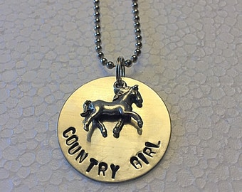 Country Girl Hand Stamped Metal Necklace