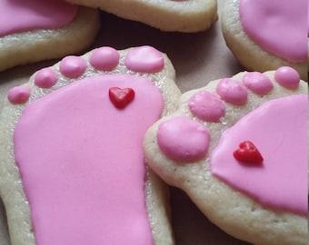 Baby Foot Sugar Cookies 1 Dozen (12)