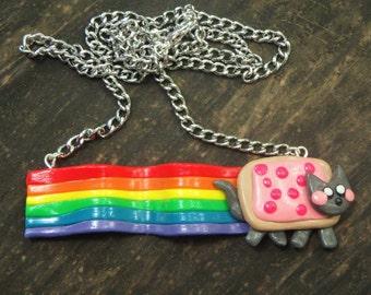 Nyan Cat Necklace, Pop Tart Cat, Rainbow Cat, Handmade Clay Jewelry