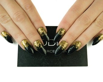 Glam Black with Gold Gradient made with Uv Gel, Fake nails, False Nails, Press On Nails, Nails, Stiletto Nails