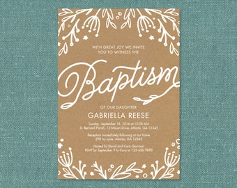 Floral Baptism, First Holy Communion, Confirmation invitations - Printable PDF
