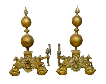 Pair Of Monumental English Brass Andirons