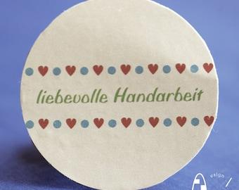 24 round Sticker liebevolle Handarbeit