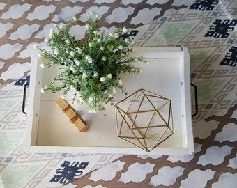 Shabby White Coffee Table Tray, Home Decor, Ottoman Tray, Shabby Chic Serving Tray, Farmhouse Style Decor, Rustic Home Decor