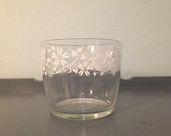 25% SALE *** White Floral Motif Glass Ice Bucket by Hazel Atlas