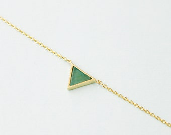 Gold Framed Mint Opal Stone Triangle Charm Necklace Mint Green Necklace Bridesmaid Gift Bridesmaid Necklace Birthday Gift