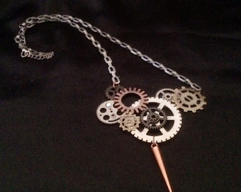 Silver, Copper, And Gold Steam Punk Gear And Pendant Necklace