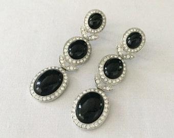 Vintage Carolee LUX Black & Rhinestone Formal Dangle Earrings in Silver Tone Metal-Bride,Wedding,Mother of the Bride,Bridesmaids,Black Tie